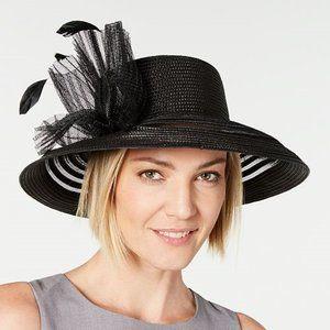August Hats Sheer Stripe Romantic Hat Black